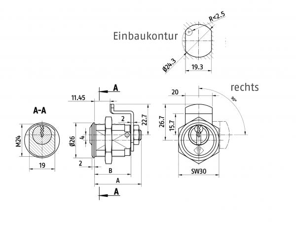 ABUS Bravus 2000 Schließanlagen-Hebelzylinder B2L456-H24